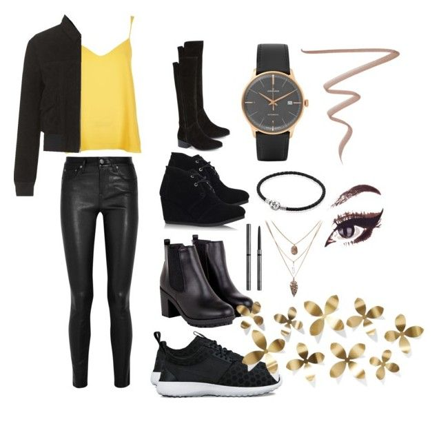"""Party out, Saturday nights are the best "" by moniquebovino on Polyvore featuring River Island, Helmut Lang, NIKE, TOMS, Steve Madden, Junghans, Pandora, Topshop, Burberry and Anastasia Beverly Hills"