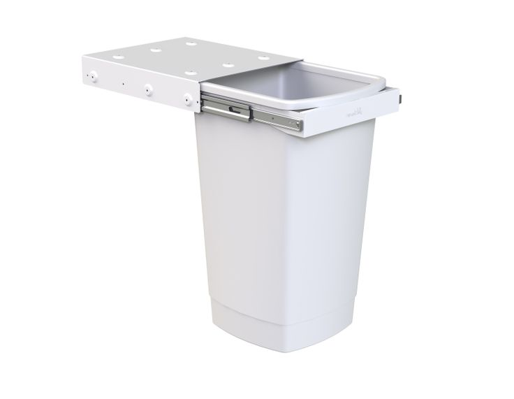 Hideaway Compact model: KC50SCH. 1 x 50L bucket, handle pull. Great for a larger family or commercial / office kitchen.