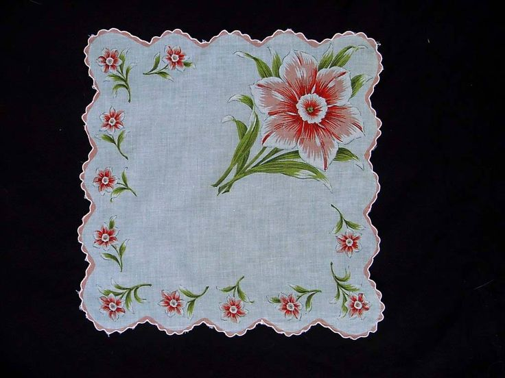 """Daffodil Handkerchief Peach Jonquil Flower Hankie Cotton Floral Hanky Green Leaves 14"""" Square Scalloped Edge Border Hand Painted Highlights by Kissisjustakiss on Etsy"""