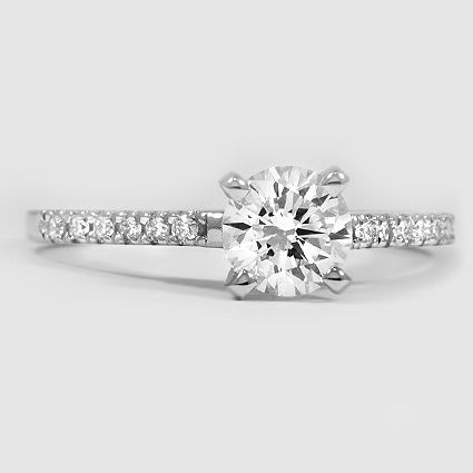 Platinum Sonora Diamond Ring // Set with a 0.70 Carat, Round, Ideal Cut, H Color…