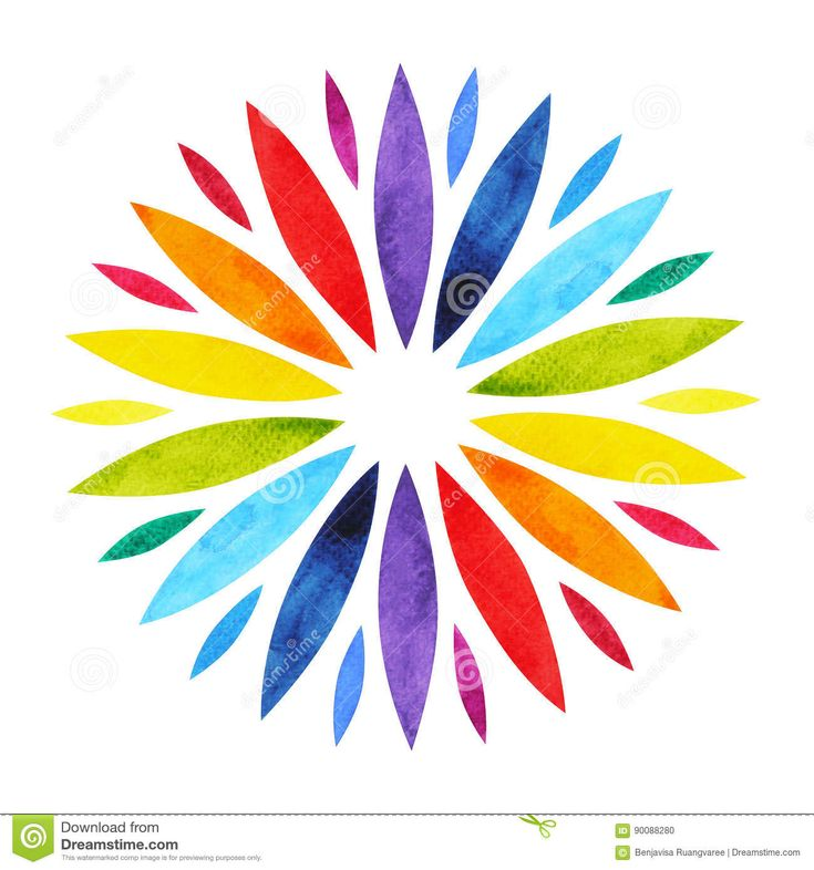 7 Color Of Chakra Mandala Symbol Concept, Flower Floral, Watercolor Painting Stock Illustration - Image: 90088280