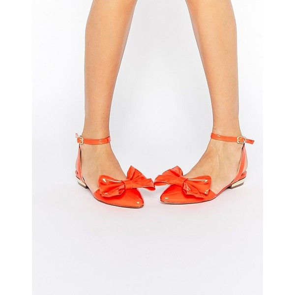 ASOS LAVA Pointed Ballet Flats ($41) ❤ liked on Polyvore featuring shoes, flats, orange, pointed flat shoes, flat shoes, pointed-toe flats, ballet pumps and orange flat shoes