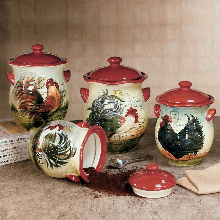 Le Rooster Kitchen Canister Set Rooster Kitchen Decor