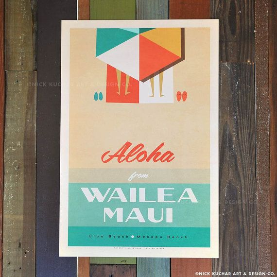 Aloha From Wailea Maui 12x18 Retro Hawaii by EverythingIsJake