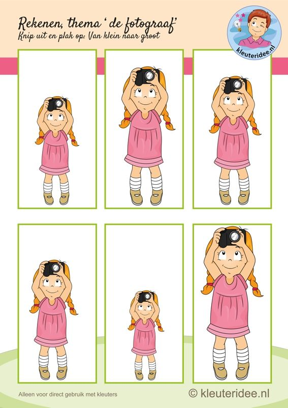 Rekenen bij thema 'de fotograaf' voor kleuters, van klein naar groot, kleuteridee.nl, free printable.