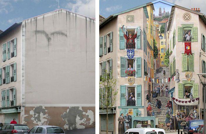 Street artist transformeert saaie, Franse huizen tot de meest geweldige kunstwerken