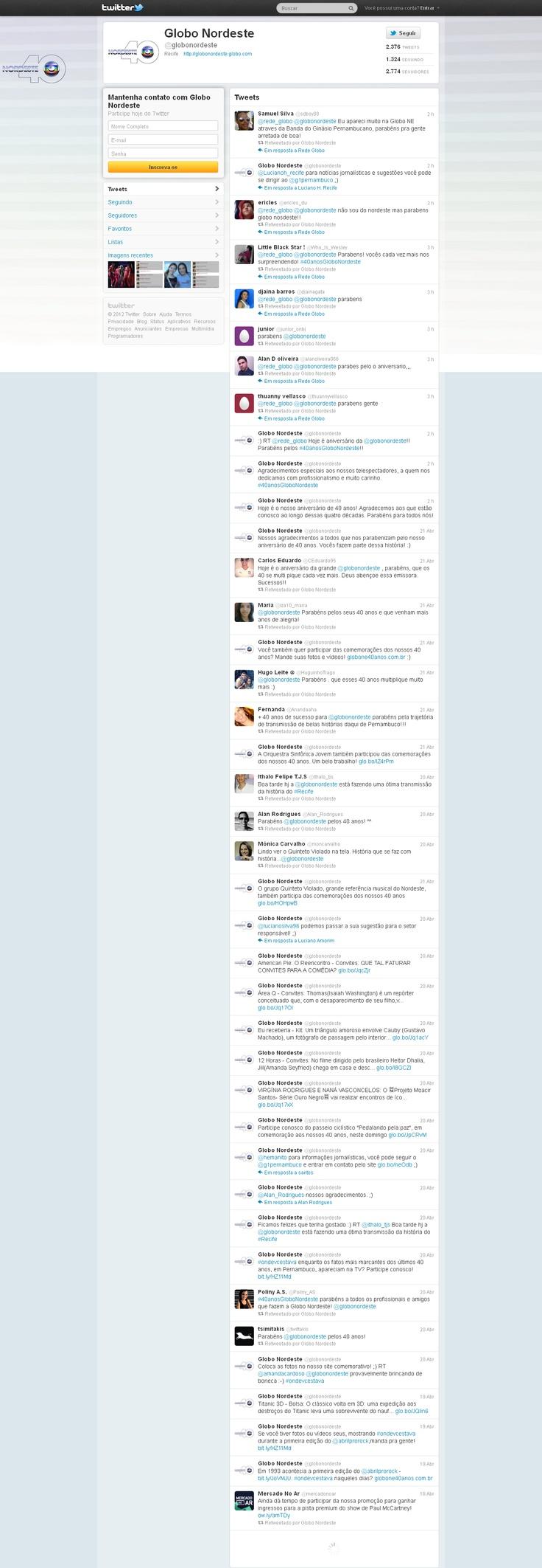 Globo Nordeste - responsável pelo conteúdo, no Twitter, da Globo Nordeste (desde abril/2012), período de comemoração dos 40 anos de sua existência  *Fishy
