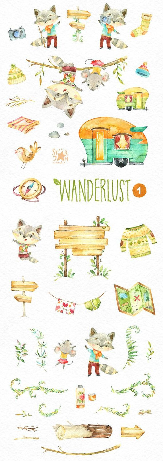 Wanderlust 1. Watercolor animals clipart racoon mouse