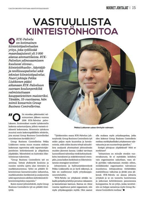 Kauppalehti Option liitteessä (30.1.2014) kirjoittamani ja kuvaamani artikkeli: Vastuullista kiinteistönhoitoa, s. 14 (Nuoret johtajat 2014).