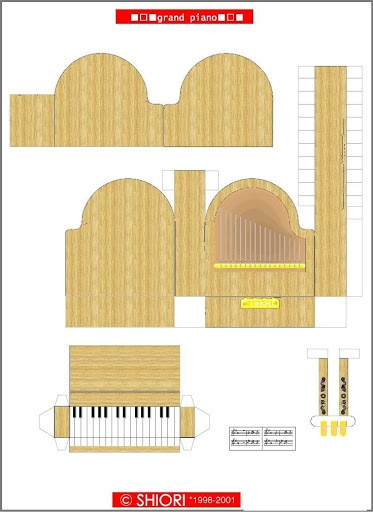 The perfect guide for making a 3D paper grand piano! The actual document was no longer available, but this can work as a guide for those who go the DIY route