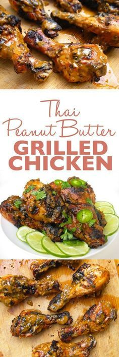 Thai Peanut Butter Grilled Chicken Recipe - Chicken drumsticks are seasoned with a Thai peanut butter marinade, grilled, and then finished with a thick, slightly sweet sauce. #chickengrill