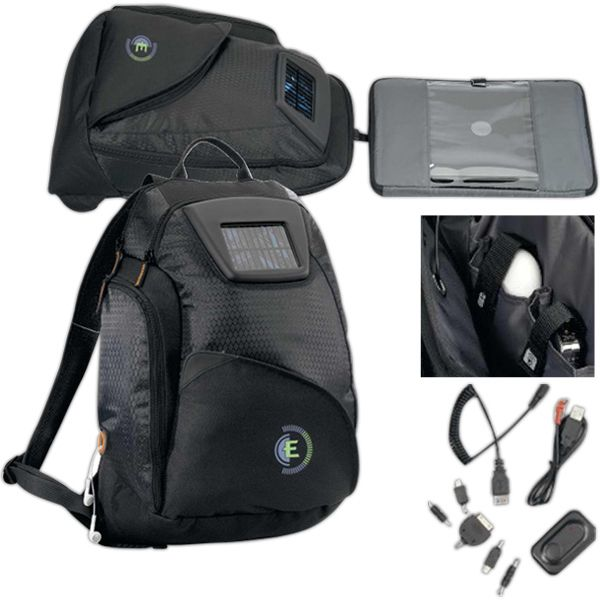 "Catalyst Solar Computer Backpack made of 600 denier polyester and 420 denier honeycomb. Kit includes: USB adapter, USB charger, DC adapter and multiple adapters for charging most mobile devices and a rechargeable lithium battery via solar panel. USB or DC adapter. Bag features a padded pocket for tablet, Viewpoint System (R) computer sleeve for easy scanning (fits up to 14"" laptop). Padded, adjustable shoulder straps, multi-function organizer, and a side pocket."