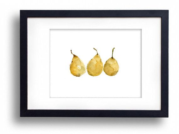 Yellow Pears art Print watercolor painting pears by TheJoyofColor