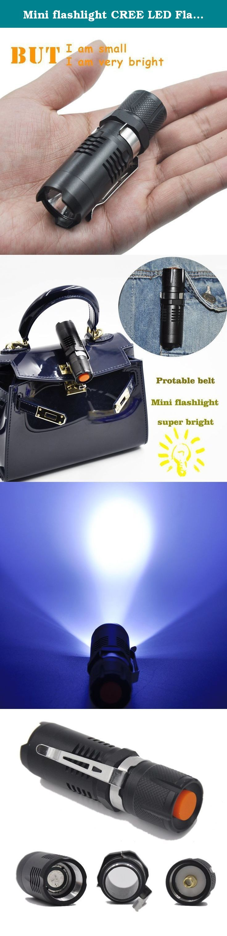 Mini flashlight CREE LED Flashlight 3 Mode Super bright lightweight flashlight torch,Power by 16340 Battery (Not includede). Light: LED CREE Philips Color: Black Mode: 3 Modes Highlight flux: 1000 Lumens Maximum range: 100-1000 Metres Material: Aluminium Alloy Battery: 16340 Led lifespan: 100,000 hours Lighting Time: 2-10 hours Focus: Yes Waterproof: 13m Rechargeable: Yes Charging Time: 5 Hours Weight: 140g Size: Length: 8.4cm Head Width: 2.5cm Body Width: 2.6cm .