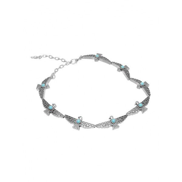 Faux Turquoise Peace Pigeon Choker Necklace