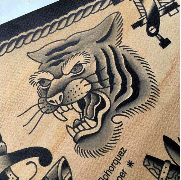 amsterdam tattoo shop old school tiger www.eetattoo.com