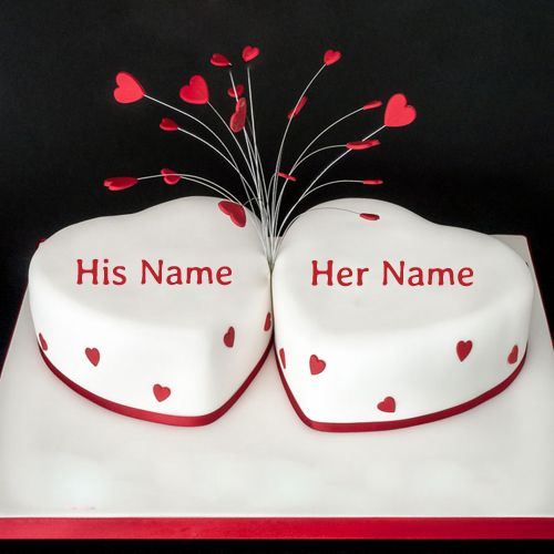 Anniversary Cake Images With Name And Photo Editor : Write Name on Happy Anniversary Heart Cake Online.Print ...