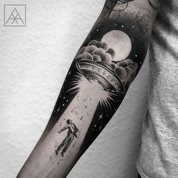 Alien abtuction tattoo. Forearm tattoo                                                                                                                                                                                 More