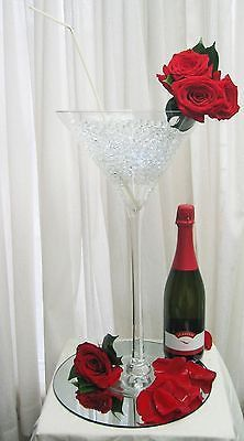 Beautiful & elegant giant vase in the shape of a martini glass is perfect as a centerpiece for weddings and other special occasions. 16-inch vase has an approximately 6 inches opening and 16 inches he