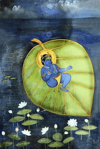 Lord Krishna on a Kalpabata, or Banyan tree leaf (wish-fulfilling tree) http://en.wikipedia.org/wiki/Banyan#Religion_and_mythology