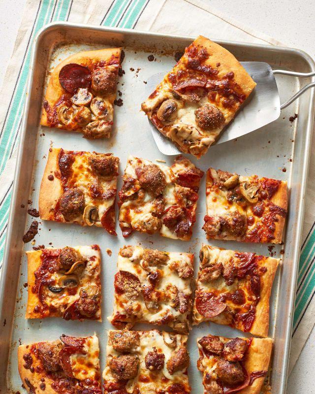 How To Make Classic Sheet Pan Pizza Recipe Sheet Pan Pizza Recipe Pan Pizza Recipes