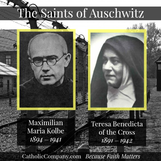 The Saints of Auschwitz: January 27, 2015 marks the 70th anniversary of the liberation of Auschwitz, the largest and most infamous concentration camp established by Nazi Germany. Among the millions killed there were two famous #Catholic saints, St. Maximilian Kolbe who died there by lethal injection in 1941, and St. Teresa Benedicta of the Cross (Edith Stein) who died there in 1942.