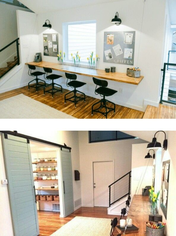 LOVE the kids' work spaces + personalized magnet boards and the barn door into butler's pantry | Fixer Upper