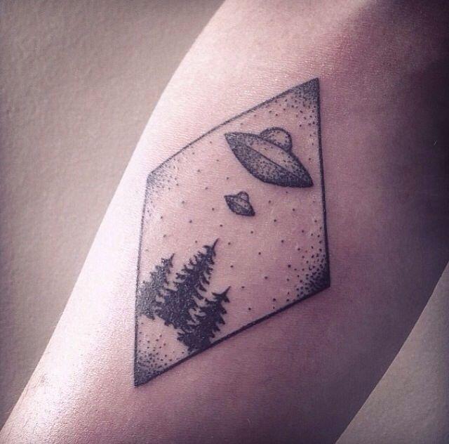 Geometric UFO Tattoo