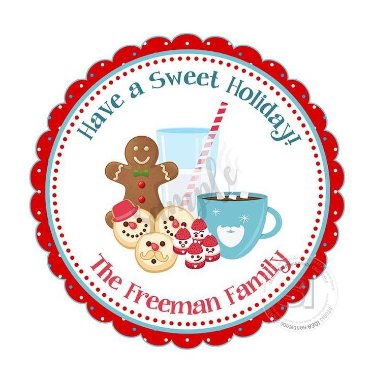 "Custom Christmas Printable 2.5'' Tags-Gingerbread Cookie -Christmas sweets- Christmas Wishes Personalized Tags-DIY (You Print) 2.5"" tags-Digital File"