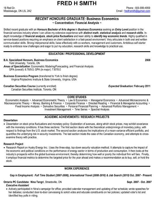 Financial Analyst Business Economics Resume Sample Job Resume Examples Resume Objective Sample Job Resume Template