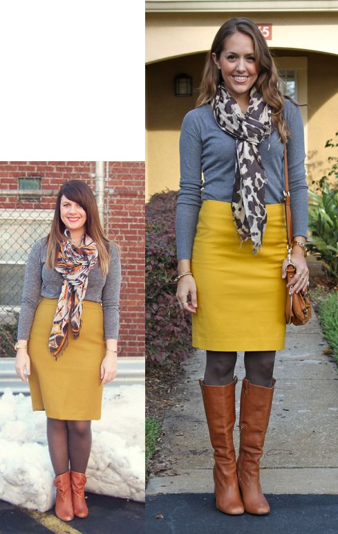 Gray sweater, mustard skirt, leopard scarf, cognac boots, gray tights