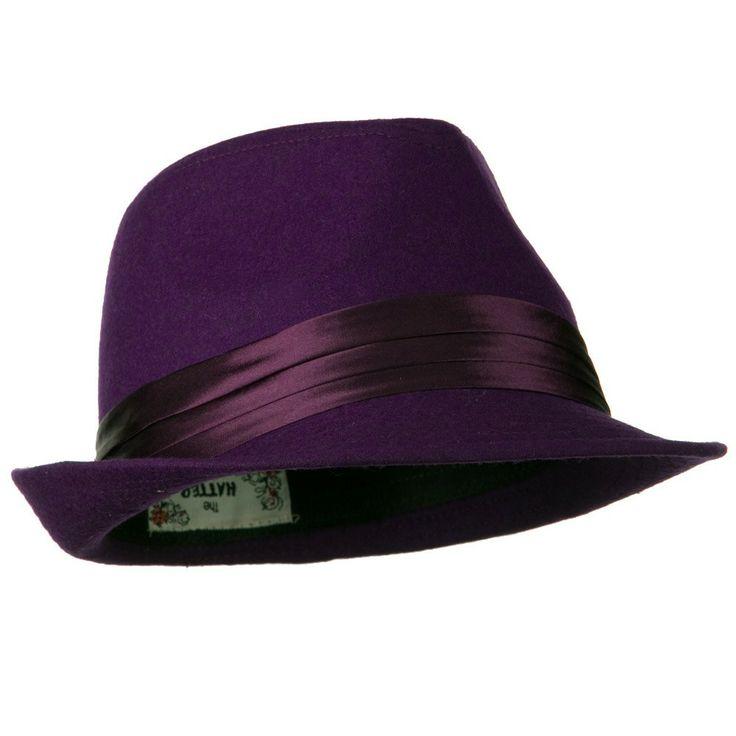 Purple fedora Hats for Men | e4Hats.com: Fedora with Pleated Satin Band - Purple