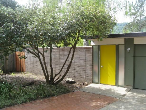 Yellow door, green house