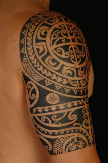polynesian marquesan tribal tattoo half sleeve 3