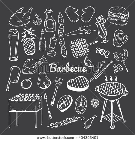 Vector hand drawn doodle of Grill and BBQ. Vector illustration of grill and BBQ stuff. Hand-drawn barbecue doodles on blackboard. Icons for web, mobile and print. Barbecue logos and icons