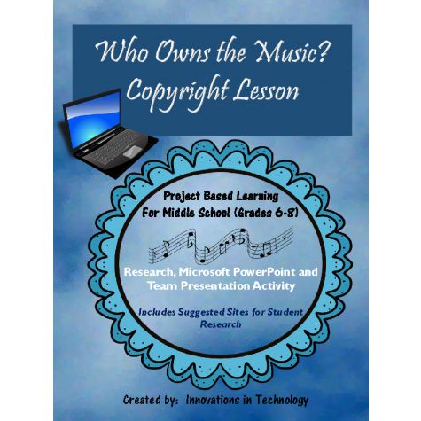 In this lesson, students learn about copyright laws as they relate to the use of music by working with a team and researching actual court cases about them, creating a presentation in Microsoft PowerPoint or Google Slides, and then presenting and defending that decision to the class. Perfect for technology, career exploration, business law and music classes. This lesson was designed for middle school (grades 6-8) but could be used in any secondary classroom.