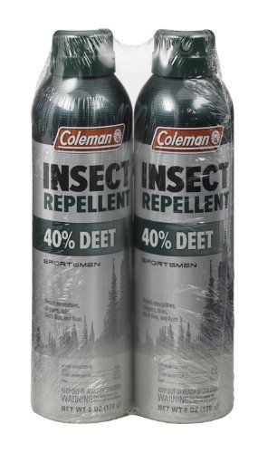 Coleman 40% Deet Insect Repellent 6-Ounce Aerosol Twin Pack by Coleman. $15.32. Repels mosquitos that may carry the West Nile virus. Contains no Deet. Provides up to 8 hours of protection. Also repels gnats, chiggers, ticks, black flies and fleas. Long-lasting, unscented, and resists perspiration. Our 40% Deet Insect Repellent provides up to 8 hours of protection. Repels mosquitos that may carry the West Nile virus as well as gnats, chiggers, ticks, black flies and fl...