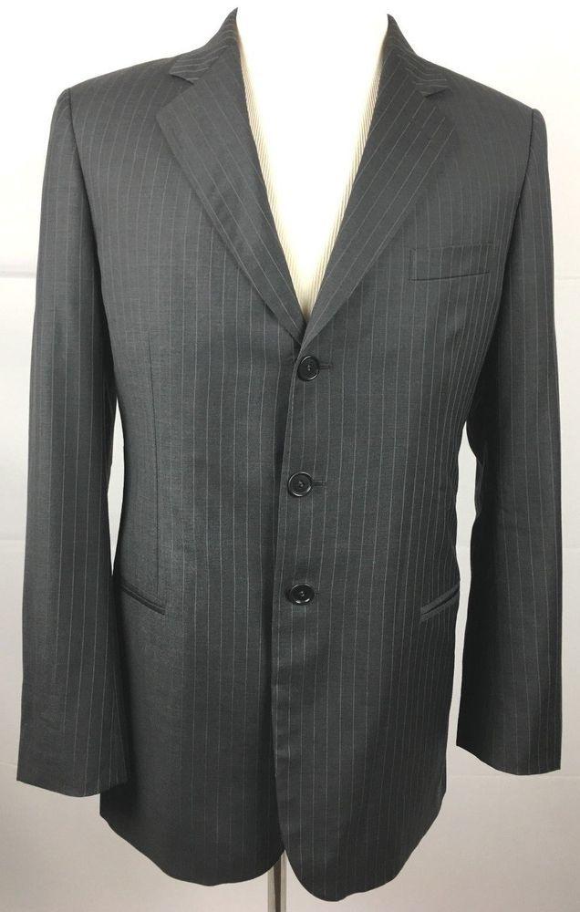 4179ab7bd84 GIORGIO ARMANI Men s 40 R Gray Sport Coat Suit Jacket Three Button Striped  Wool  GiorgioArmani  ThreeButton