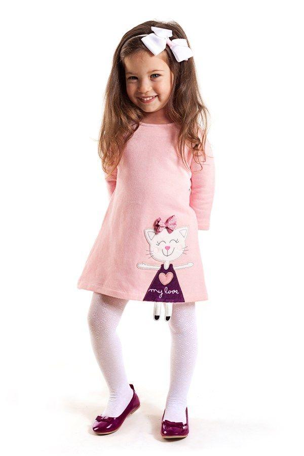 Kız Çocuk Yaramaz Kedi Elbise CFF-13KELBKED Denokids   Trendyol