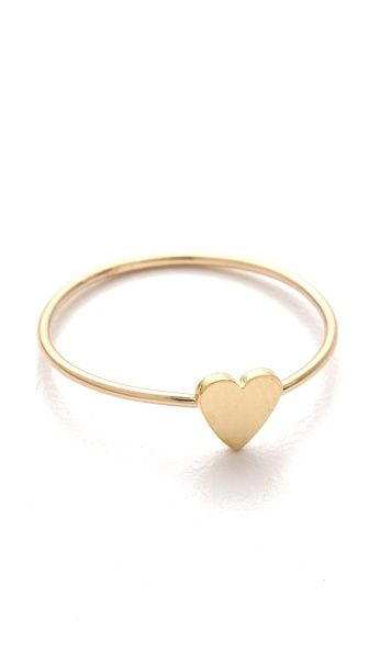 JENNIFER MEYER: Teeny-Tiny <3 18k golden ring with le petite heart charm. <3 Made in USA