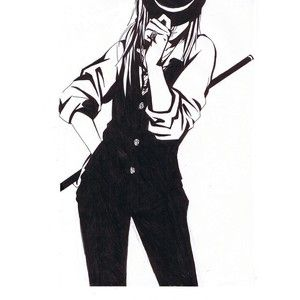 Safebooru - Anime picture search engine! - casual fedora formal hand on hat hand on hip hat over eyes jewelry long hair monochrome naruto ring tayuya tayuya1130 traditional media | 521527