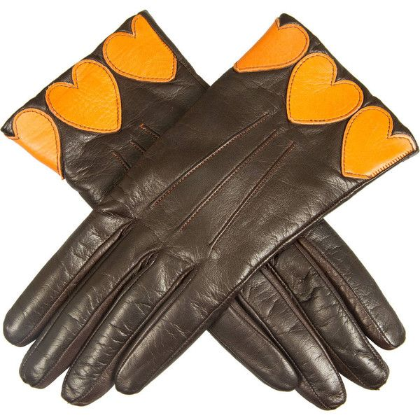 Preowned Vintage Moschino Leather And Cashmere Gloves ($425) ❤ liked on Polyvore featuring accessories, gloves, vintage, multiple, orange gloves, moschino, orange leather gloves, leather gloves and vintage leather gloves