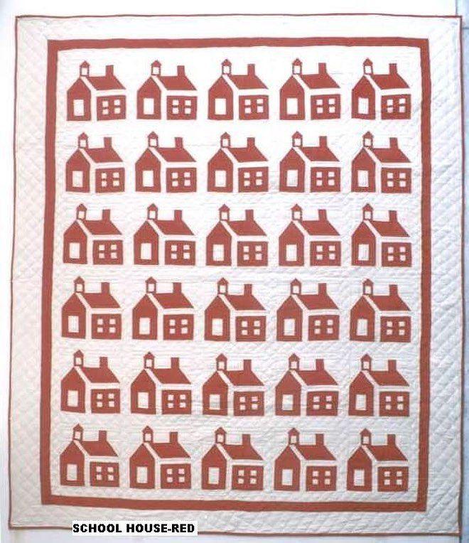 School House 90x100 Queen Quilt! #wovenmagic #schoolhouse #schoolhousequilt #patchwork #patchworkquilt #handquilt #cottonquilt