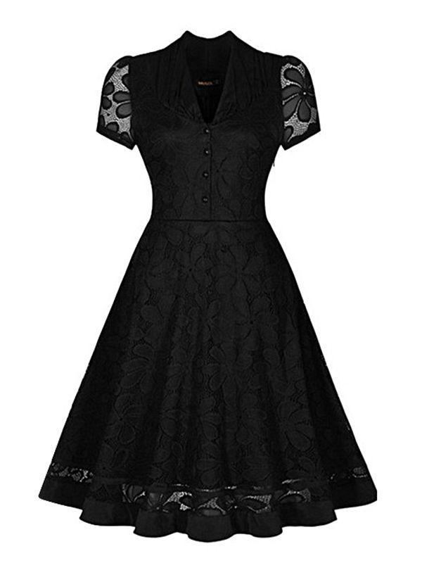 Robe noire coupe vintage avec motif floral et manches courtes rockabilly pin-up
