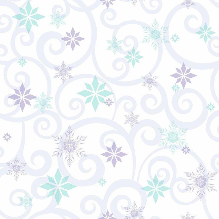 Disney Kids III Disney Frozen Snowflake Scroll Wallpaper, White/Off Whites