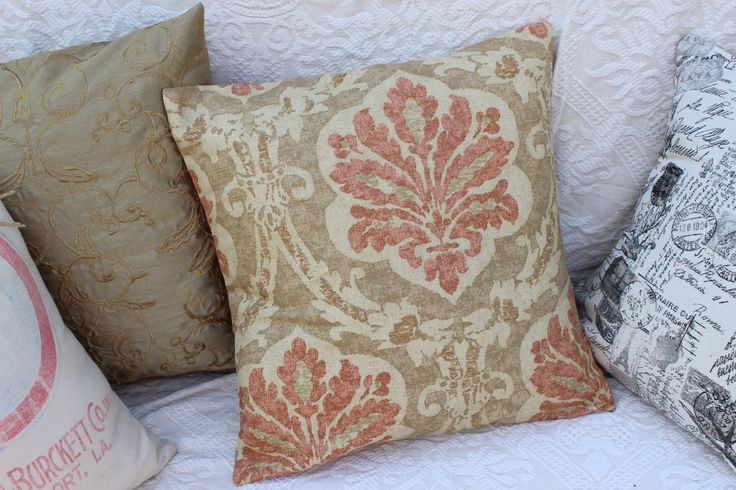 Decorative Pillow Forms : Tan and Coral Damask print pillow covers for 18 x 18 pillow form decorative pillow case cover ...