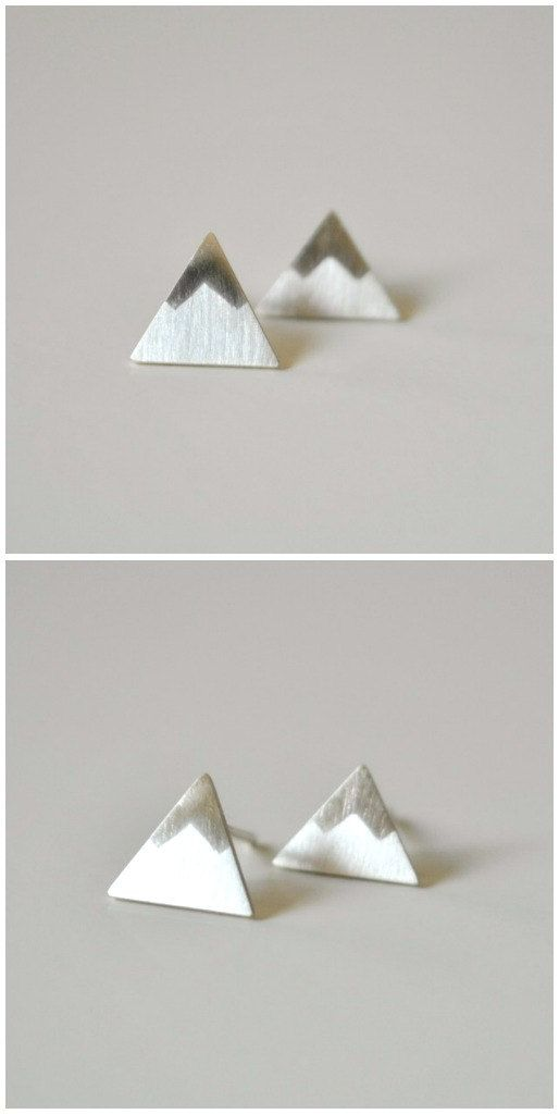 Mountain Post Earrings - Peaks Sterling Silver Stud Earrings. $55.00, via Etsy.