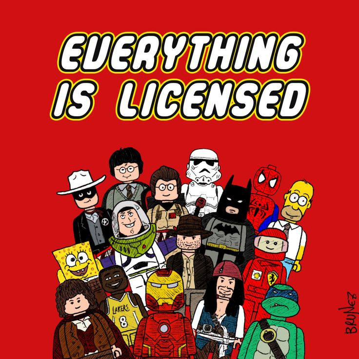 A bit of irony on the proliferation of licensed Lego sets.  Lego is © The Lego Group, all the characters are property of their respective owners.