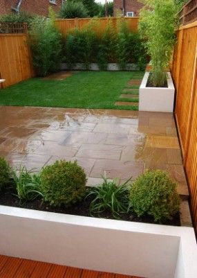 Small Gardens Ideas garden ideas for small gardens planters plants Simple But Versatile Small Decking At The Bottom Of The House For The Bbq Unit
