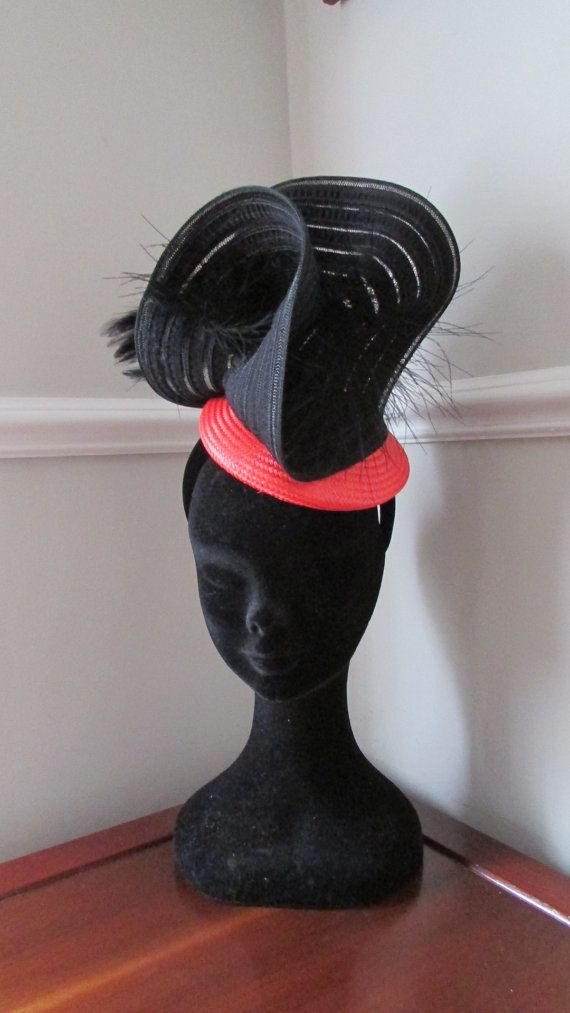 Orange and Black Racing Fascinator